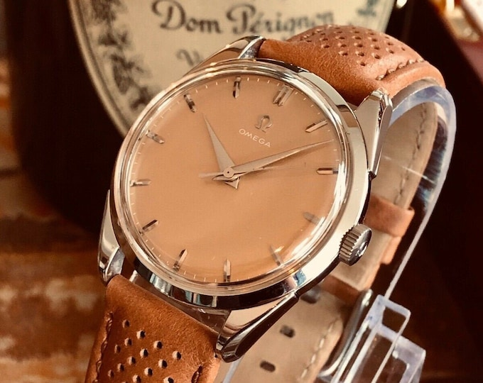 Omega Steel Peach Beige Face Mens unisex Vintage 1956 serviced March 2020 watch + New Box