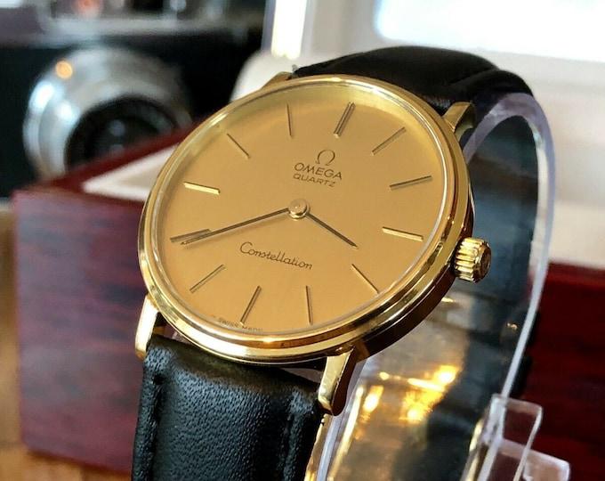 Omega Constellation Vintage 1977 Quartz Battery Gold Plated Mens watch calibre 1330 + BOX
