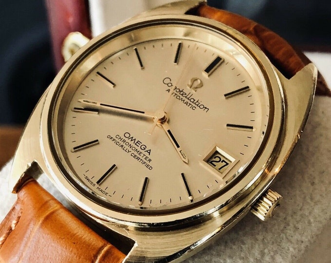 Omega Mens Constellation 1973 vintage Automatic Mens Gold Steel Leather watch