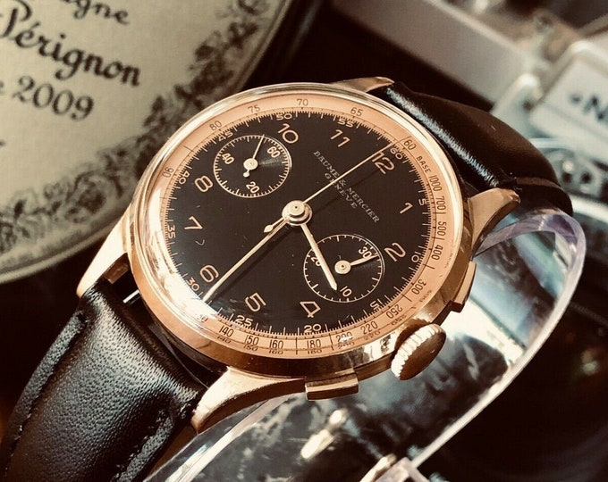 RARE Baume & Mercier Geneve 18K Solid Rose Gold Chronograph 35mm Black Dial Vintage 1960 watch