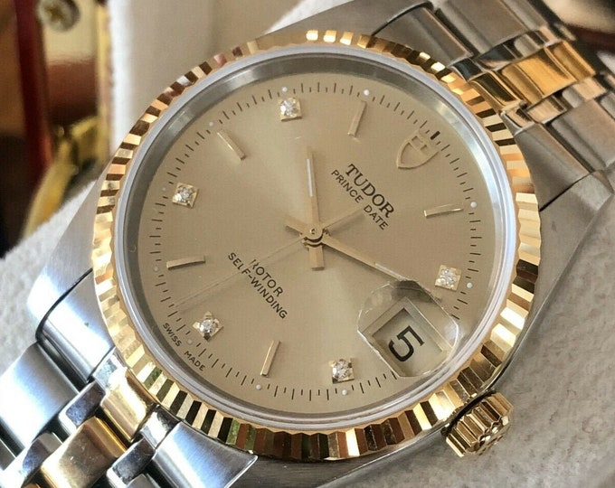 Tudor Rolex Prince Date 74033 Diamonds Dial Mens unisex 34mm gold watch + papers