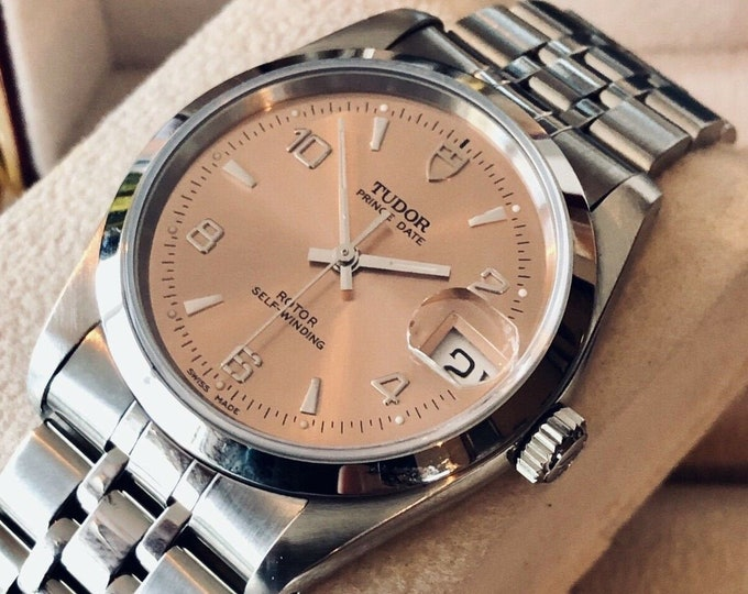 Tudor Rolex Prince Date 74000 Pink Salmon Dial Mens unisex 34mm watch + papers