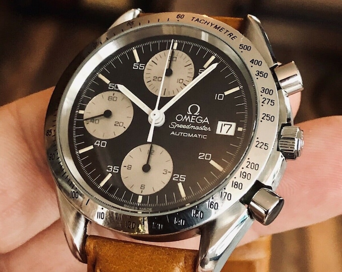 Omega Speedmaster Black Reverse Panda Dial Men's reduced Automatic calibre 1155 watch + James Bond 007 Nato Band + Box