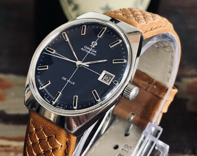 Omega vintage 1970 Mens vintage watch De Ville Automatic Blue Dial men's watch + Service card from May 2020