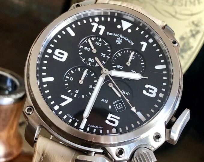 Erhard Edward Junghans Aerious Chronoscope Chronograph Mens Black Dial Watch + Box