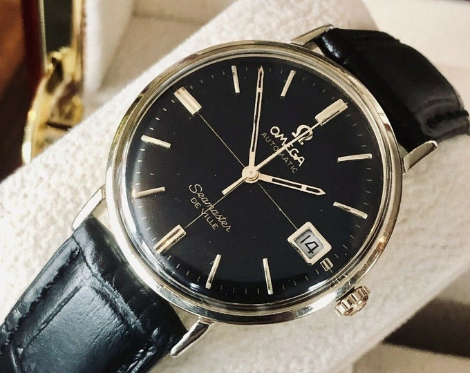 Omega Seamaster De Ville Automatic 14K Gold Filled Crosshair black dial vintage mens watch with black leather  + Box