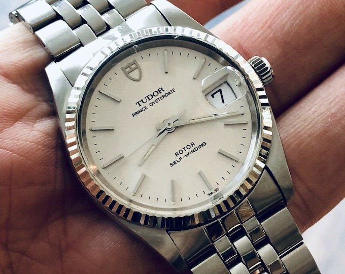 Tudor Rolex Prince Date 74034 Silver Dial Automatic Mens vintage 18K White Gold Fluted Bezel & Steel case watch Full Set papers Box
