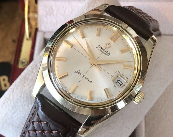 Omega Seamaster Crosshair Dial Automatic Cal 562 Gold Capped mens vintage watch + New Box