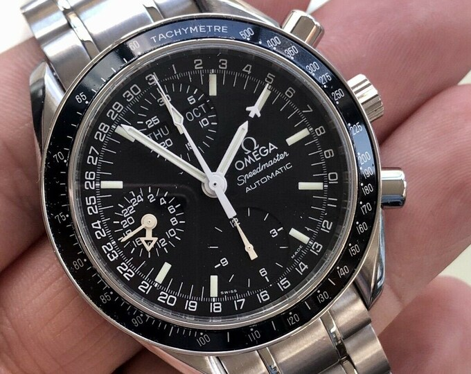Omega Speedmaster Mark 40 Men's Black Dial Triple Date Automatic M40 200 Full Set Box Cards Papers watch + Box