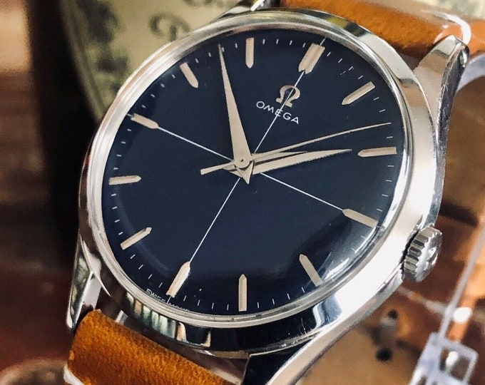 Omega Steel Blue Crosshair Dial Face Mens Vintage 1954 serviced March 2020 watch in stunning condition + New Box