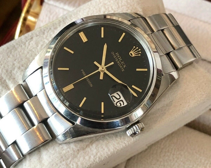 Rolex 6694 Mechanical Oyster 1960s Black Dial Mens vintage unisex watch + Box