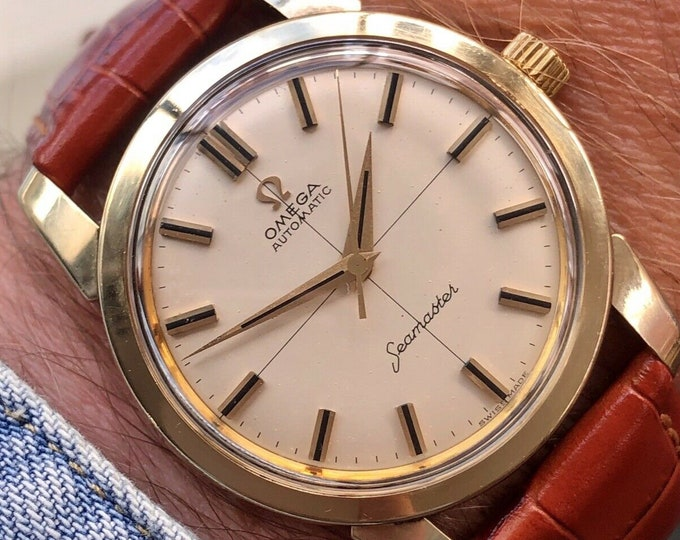 Omega Seamaster Automatic Gold Cap Mens 1962 34mm size Vintage stunning watch + Box