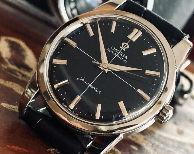 Omega Automatic Seamaster Mens Vintage Black dial 1962 steel dress Serviced March 2020 watch + Box