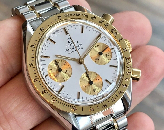 Omega 1988 Speedmaster 175.0032 Calibre 1140 Men's 18K Gold & Steel reduced Automatic watch + Box
