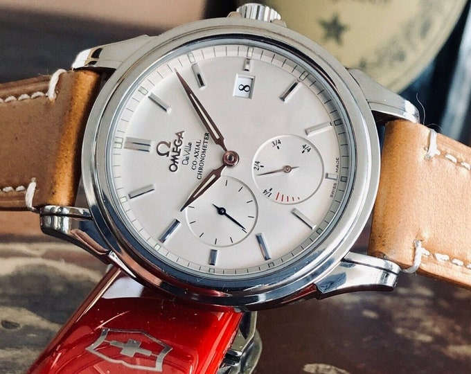 Omega DeVille 39mm Steel Silver Power Reserve Co-Axial Automatic Mens watch serviced April 2020 + Box