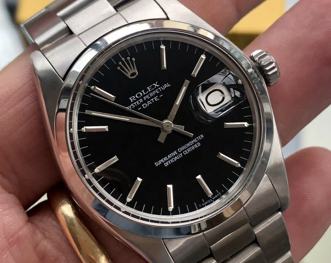 Rolex Vintage Oyster Perpetual 1975 Black Dial Face Steel Mens serviced September 2020 like Datejust watch + Box