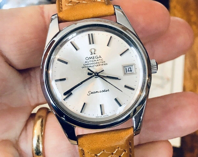 Omega Automatic Seamaster Mens Vintage Chronometer Steel 1973 dress calibre 1011 watch + Box