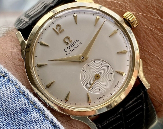 Omega vintage 14K Gold Filled Sub Seconds Dial Men's Automatic Bumper Movement Caliber 344 1954 watch