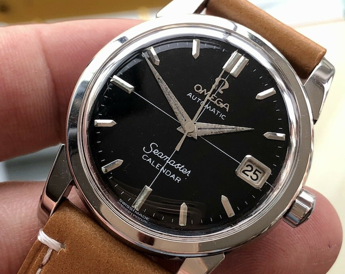 Omega Seamaster Vintage Steel Mens Date Calendar Black dial 1958 watch + Service card + New Box