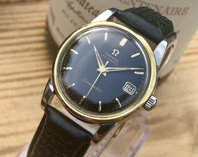 OMEGA Seamaster Automatic black dial gold steel 1956 vintage 2849 SC mens calendar watch