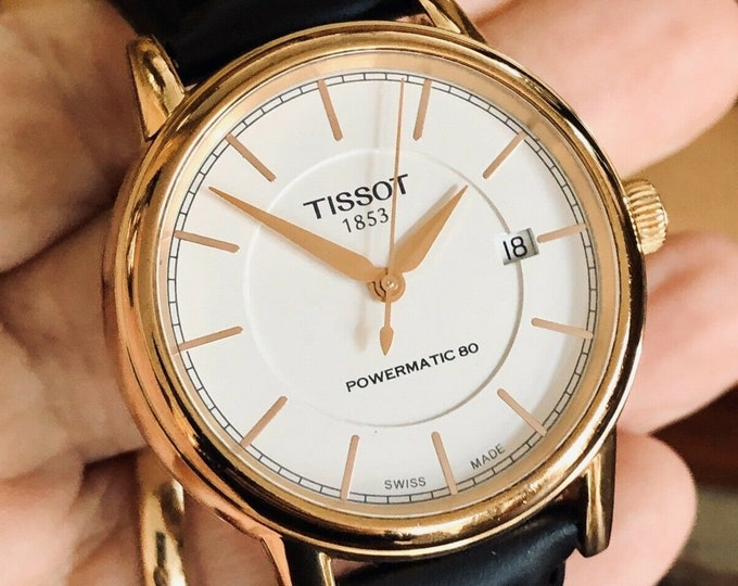 Tissot Automatic Rose Pink Gold Powermatic 80 Mens Watch Sapphire case back + Box