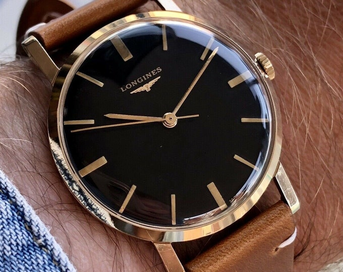 Longines Vintage used 9K solid yellow gold black dial mechanical Hand Winding Serviced September 2020 watch