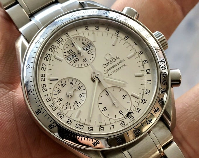 Omega Serviced September 2019 Speedmaster Silver Dial Men's Triple Date reduced Automatic Calibre 1151 25 Jewels watch + New Box