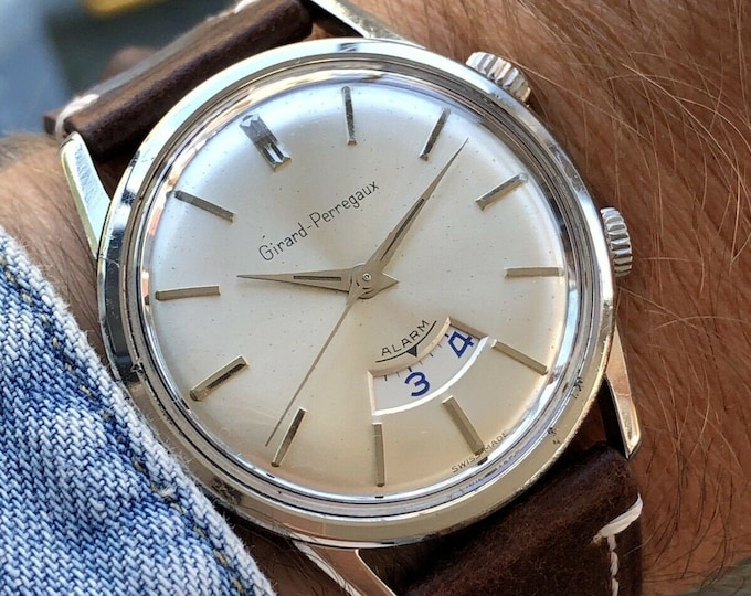 Girard Perregaux Alarm Steel Hand Wind Limited Vintage Men's Cal 11 1950's Watch