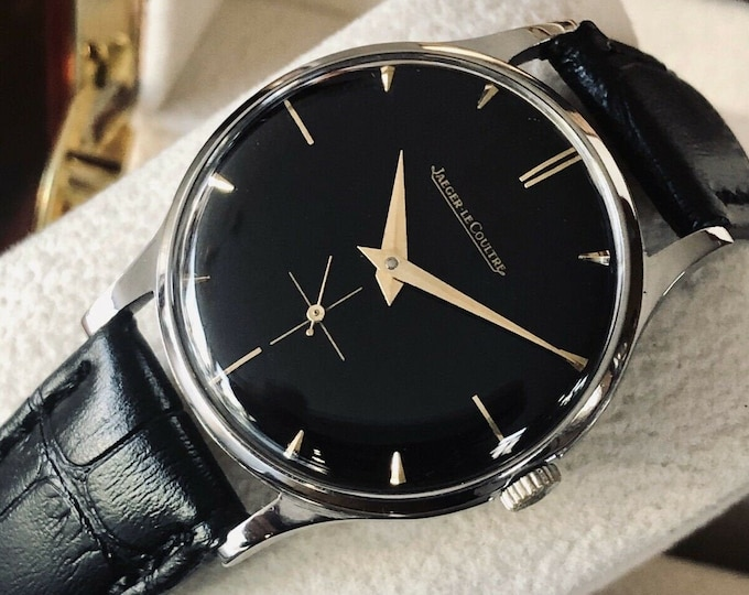 Jaeger Lecoultre JLC Black Dial Mens Steel Vintage Mechanical 1960s watch + Box + Service Card