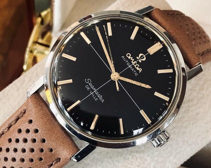 Omega Seamaster De Ville Automatic Caliber 552 Crosshair black dial vintage mens sericed January 2020 watch + Box
