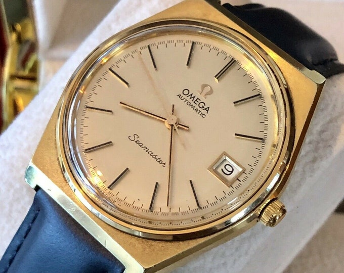 Omega Mens 1970 - 1979 Gold Plated Mechanical Automatic vintage wristwatch + New Box