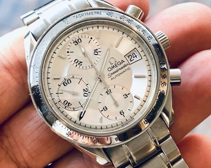 Omega Serviced October 2019 Speedmaster Silver Dial Men's Triple Date reduced Automatic Calibre 1151 25 Jewels watch + New Box