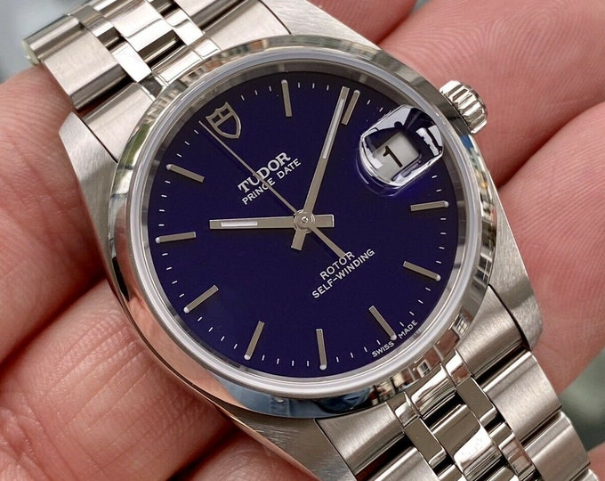 Tudor Full Set 74000 Prince Date Blue Dial Mens 35mm June 2020 steel NOS watch + Box