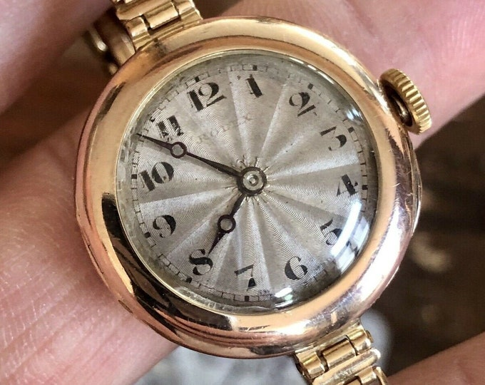 Rolex Vintage Solid 9K Rose Pink Gold Art Deco 1920's womens watch +  Box