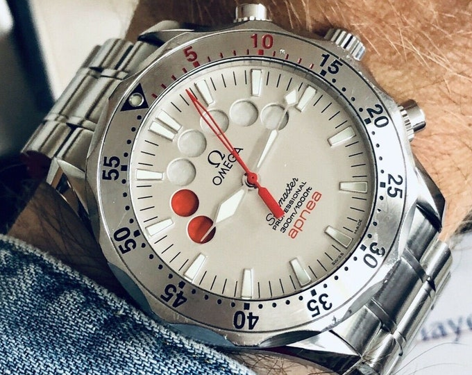 Omega Seamaster Professional Chronograph Apnea Jacques Mayol Ref 25953000 Full Set Papers / Cards + Box