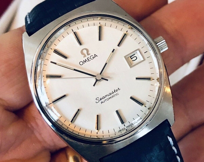 Omega Seamaster Stainless Steel Mens Vintage 1978 dress Automatic Calibre 1012 watch + Box