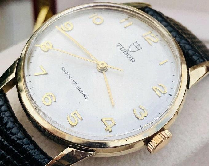 Tudor Rolex Mechanical Ref 3233 vintage 9K Solid Gold Mens 1968 watch Cal 2402 + Box