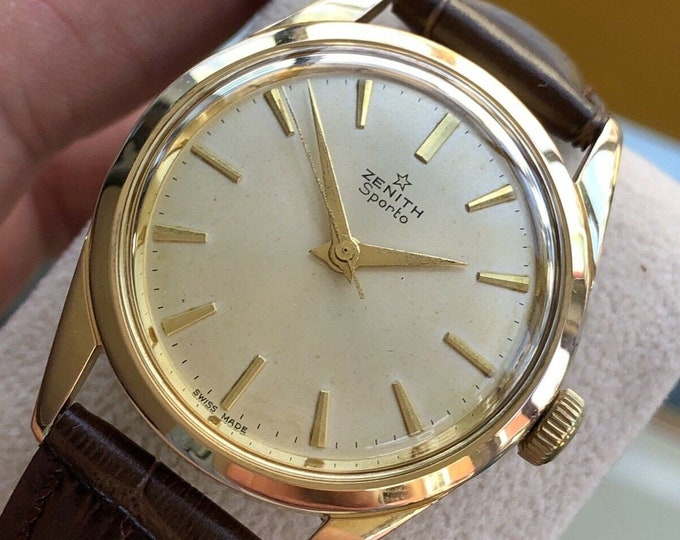 Zenith 1960s vintage Gold Sporto Leather Mens Serviced August 2020 watch + Box