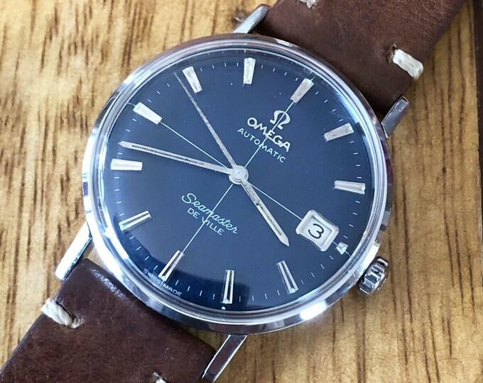 Omega Mens Seamaster De Ville Automatic Black Crosshair Mad Men Don Draper Jon Hamm vintage watch