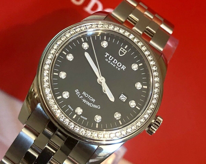 Tudor Glamour Black Dial Diamonds Bezel Automatic womens 31mm steel M53020 watch - Full Set Box & Card