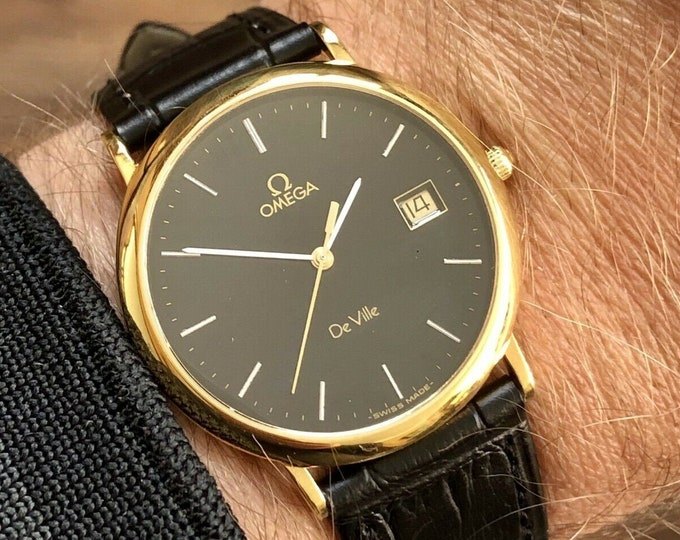 Omega 1970s vintage De Ville Gold Black Dial Quartz Battery Leather Men watch + Box