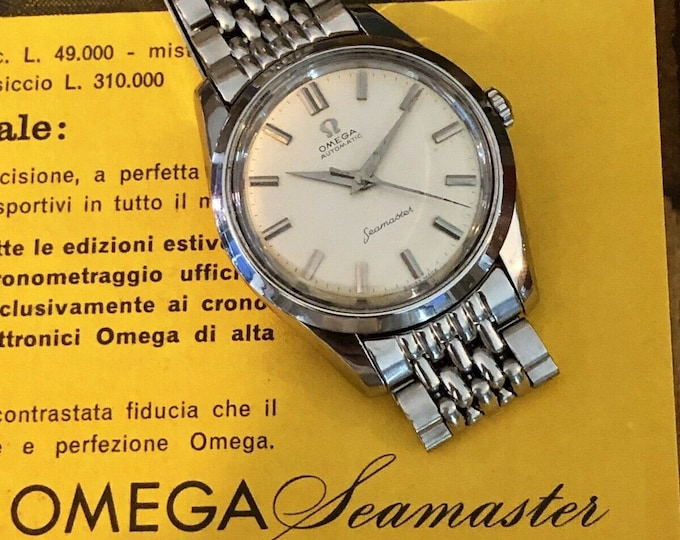 Omega Automatic Bead of Rice Bracelet Seamaster Special Mens Vintage watch CK 14710 Calibre 501 Rome 1960 Olympics + Omega Red Box