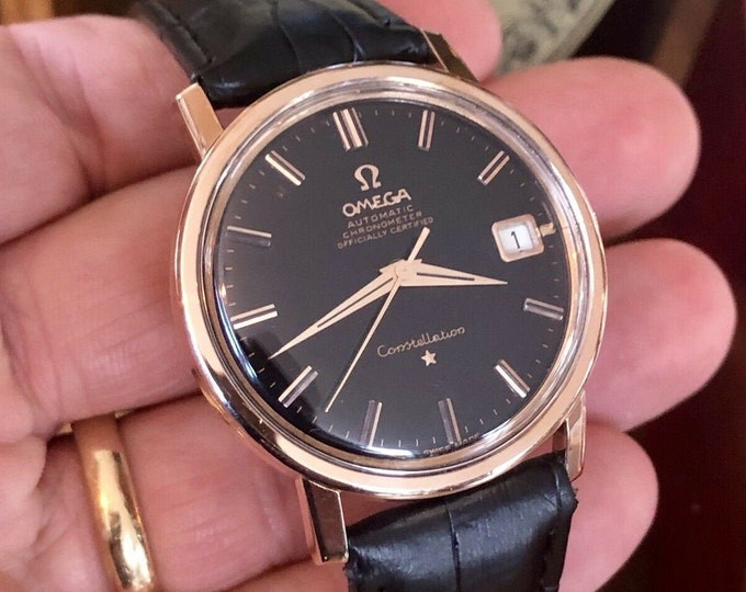 Omega vintage Rose Gold Constellation 1966 Calibre 564 Automatic Black Dial Men's watch + new box