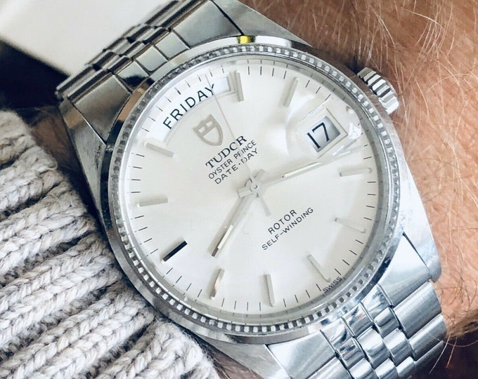 Tudor Full Set Rolex Prince Day Date Dial Mens 36mm white gold steel President 1990s Semi Vintage watch + Box  + Papers