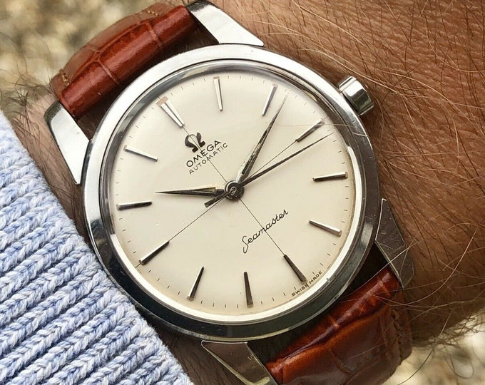 Omega Seamaster vintage Crosshair watch Mechanical Automatic Stainless Steel Date bordeaux red leather strap 1960 used second hand + Box