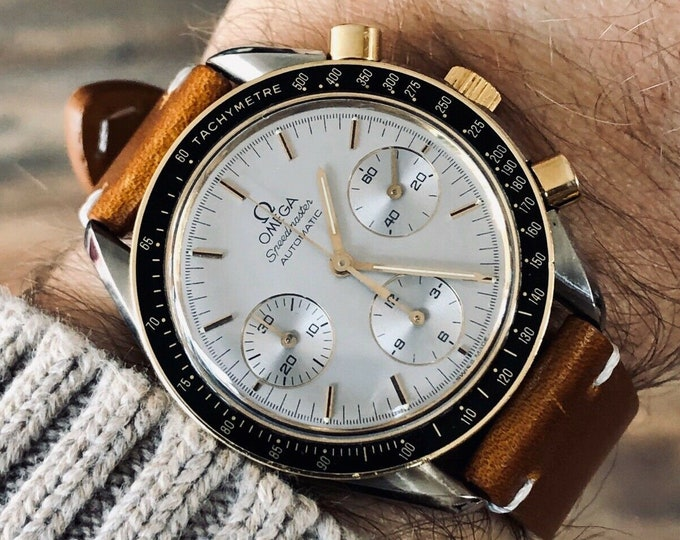 Omega 1988 Speedmaster Reduced 38mm Men's 18K Gold reduced Automatic watch + Box