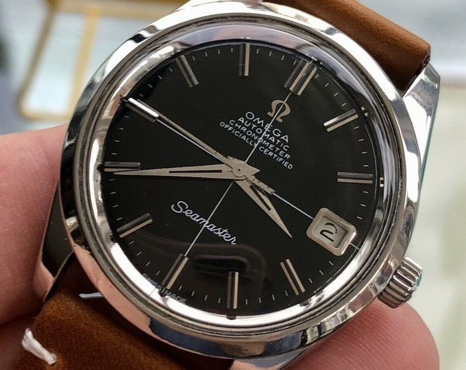 Omega Seamaster Chronometer Black dial Face Mens Vintage 1968 Automatic 35mm Steel Leather watch