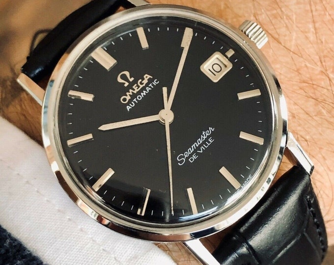 Omega Seamaster De Ville wristwatch Automatic black dial Face vintage mens 1963 stainless steel serviced revised February 2020 watch + Box