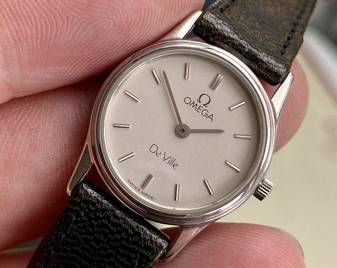 Omega 1984 Quartz Battery Cal 1450 Quartz NOS New Old Stock watch De Ville Steel 21mm women's ST 5910279 watch