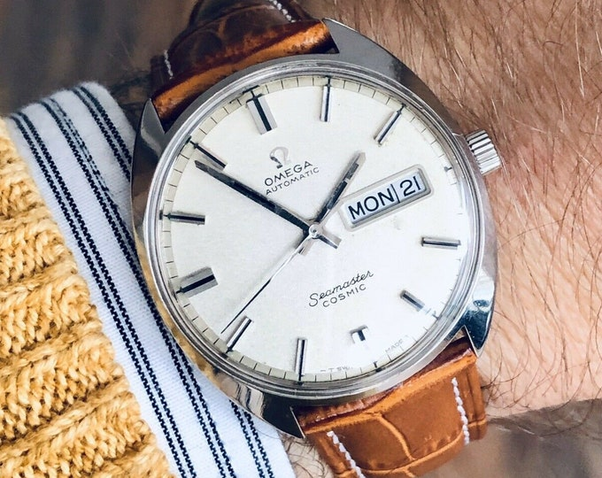 Omega Mens Seamaster Cosmic Day Date Steel vintage Grey Dial Automatic watch